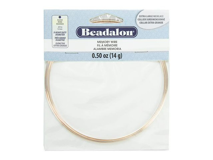 Beadalon Extra Heavy Duty Round Memory Wire Rose Gold Color Extra Large Necklace