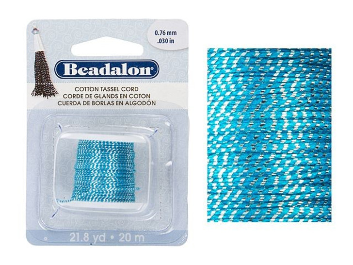 Beadalon Metallic Silver on Blue Cotton Tassel Cord (21.8 yd spool)