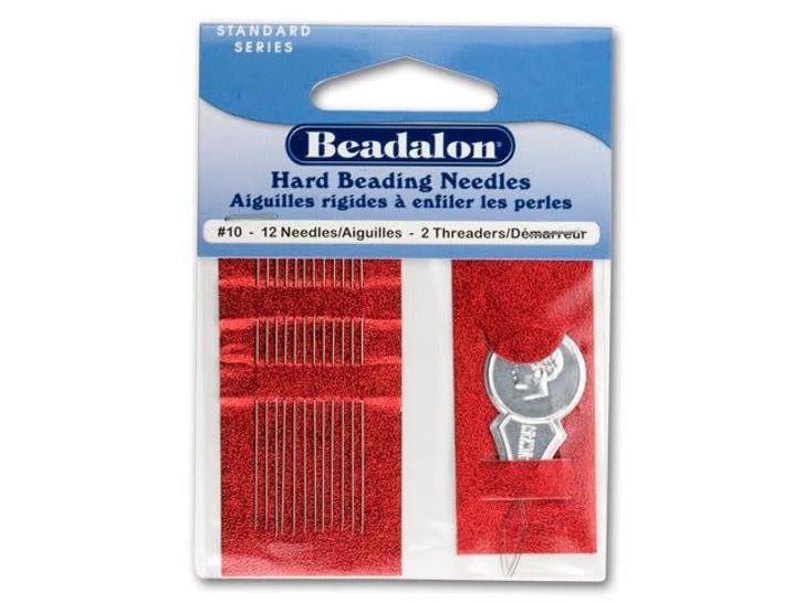 Beadalon Stainless Steel Rigid Beading Needles Size 10 (12 Pack)