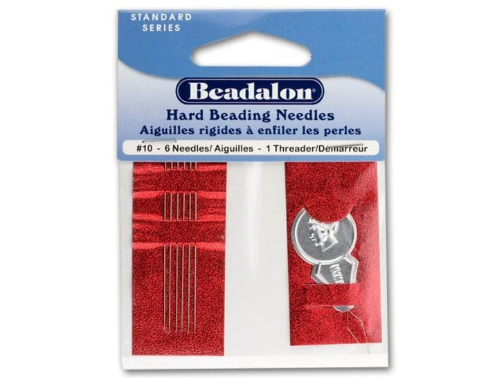 Beadalon Stainless Steel Rigid Beading Needles Size 10 (6 Pack)