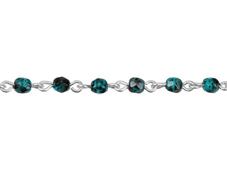 Beadlinx 4mm Blue Turquoise Fire-Polished Silver-Plated Brass Chain By the Foot