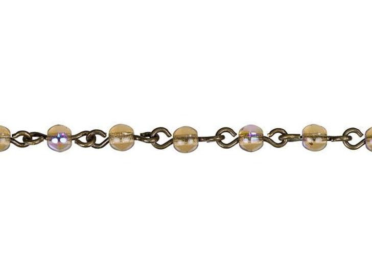 Beadlinx 4mm Smoke Topaz AB Czech Glass Round Beaded Chain (Oxidized Brass) Sold By the Foot