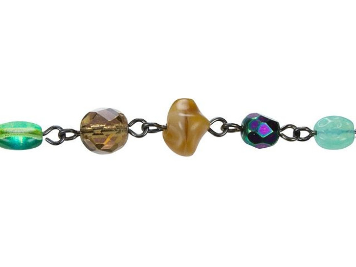 Beadlinx Autumn Forest Beaded Gunmetal-Plated Chain by the Foot