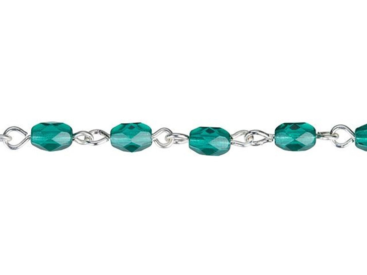 Beadlinx Blue Zircon Fire-Polished Glass Oval Beaded Silver-Plated Chain By the Foot