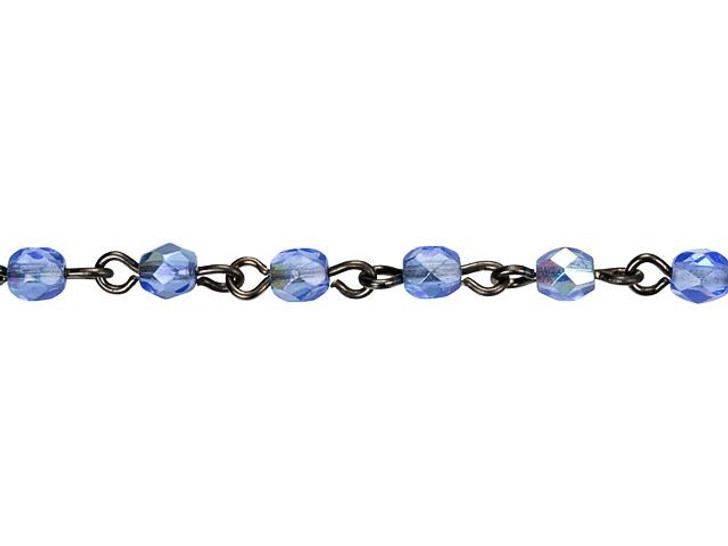 Beadlinx Light Sapphire AB Fire-Polish Glass Beaded Gunmetal-Plated Chain by the Foot