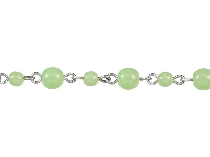 Beadlinx Milky Mint Round Glass Beaded Silver-Plated Chain by the Foot