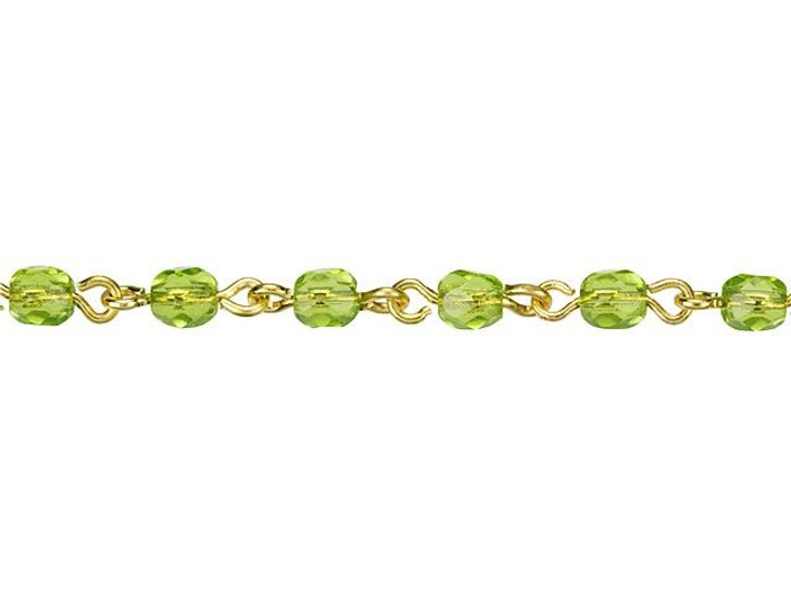 Beadlinx Olivine Fire-Polished Glass Beaded Gold-Plated Chain by the Foot