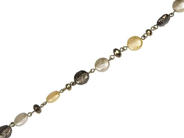Beadlinx Sahara Desert Beaded Oxidized Brass Chain by the Foot