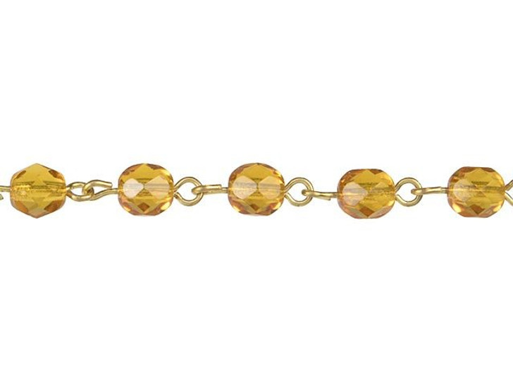 Beadlinx Topaz Fire-Polish Glass Beaded Gold-Plated Chain by the Foot