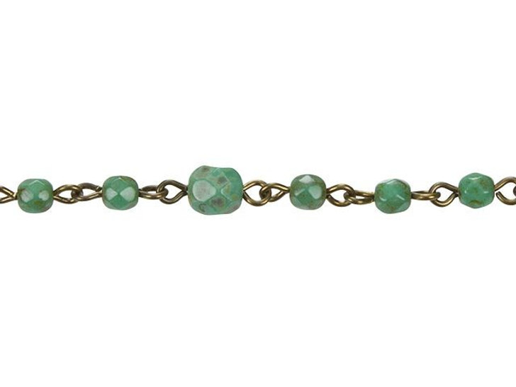 Beadlinx Totally Turquoise Beaded Oxidized Brass Chain by the Foot