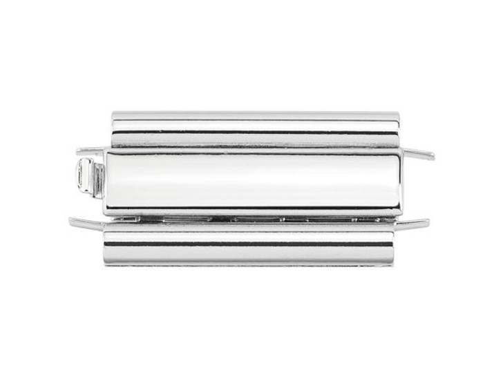 Beadslide 10 x 24mm Smooth Plain Tube Seed Bead Silver-Plated Clasp