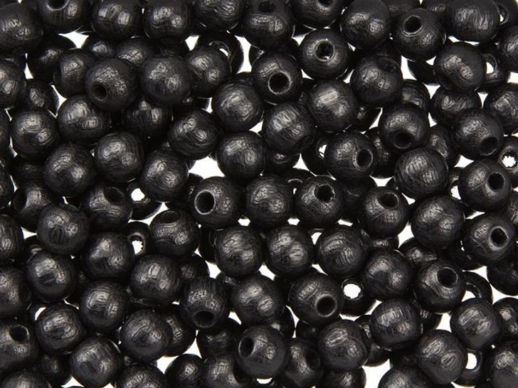 Black 6mm Round Euro Wood Beads