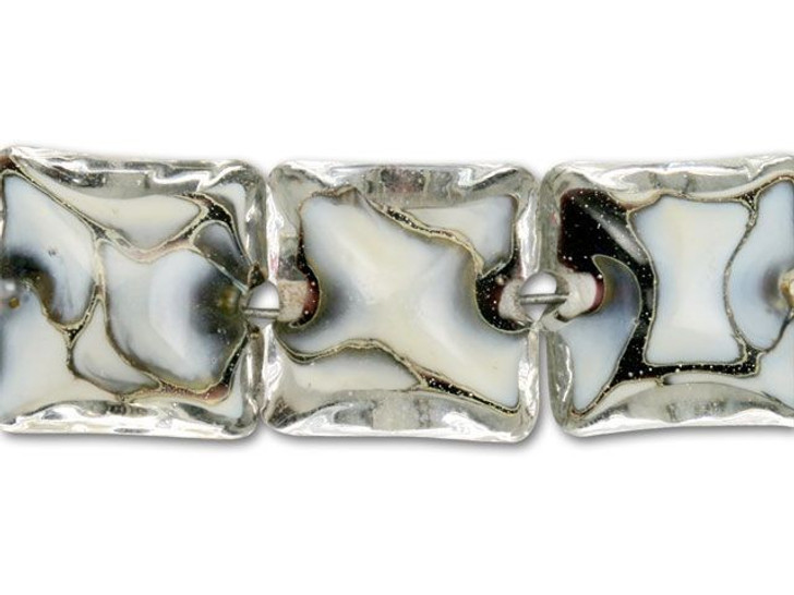Black and White Silver Mix Pillow Beads (7pcs) Strand