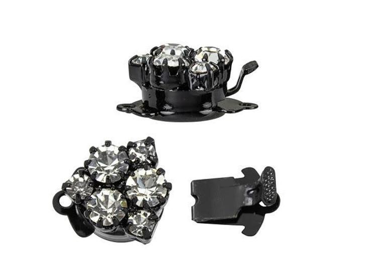 Black-Plated Rose Bouquet Crystal Rhinestone Clasp