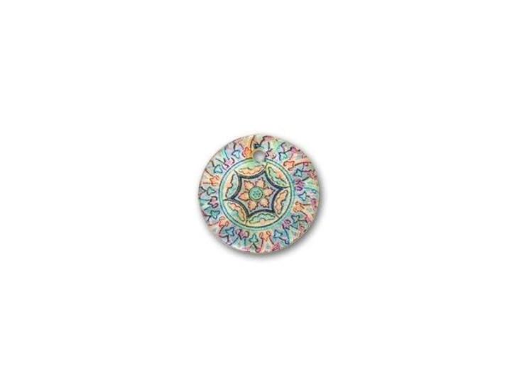 Blue Kaleidoscope Round Shell Charm