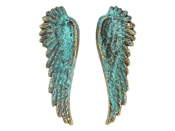 Brass Angel Wing Embellishments with Patina (pair)