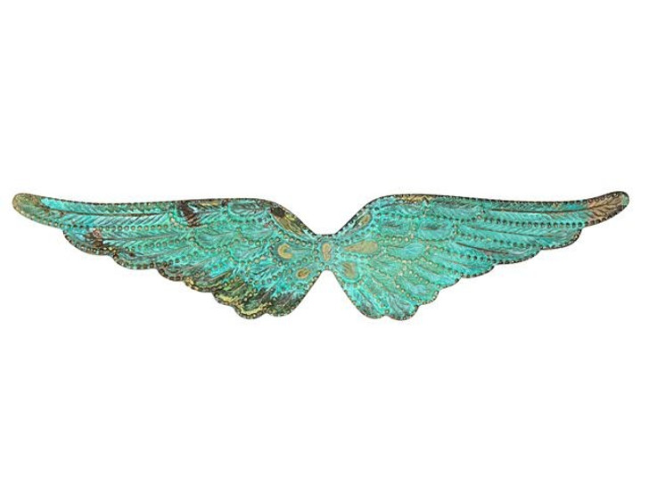 Brass Angel Wingspan Embellishment with Patina