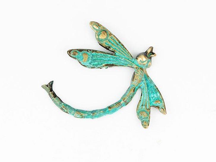 Brass Deco Dragonfly Embellishment with Patina