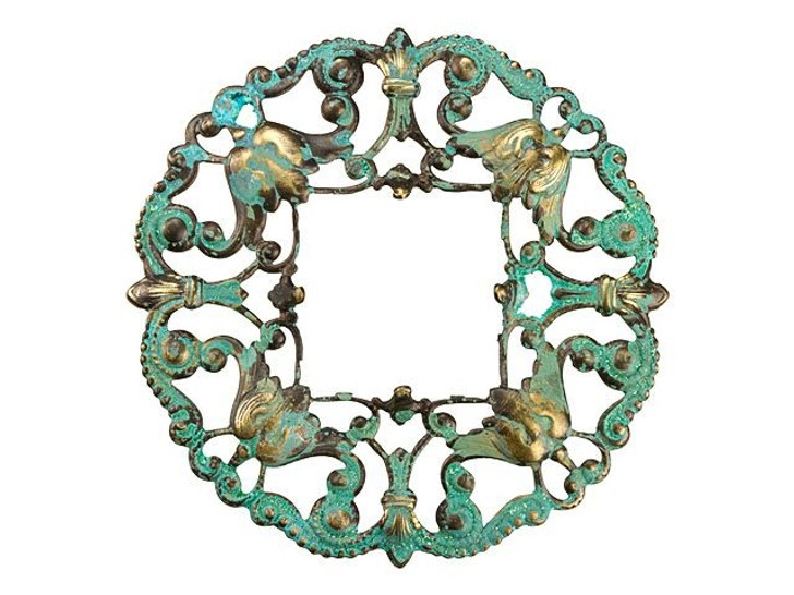 Brass Filigree Square Wreath with Patina Embellishment