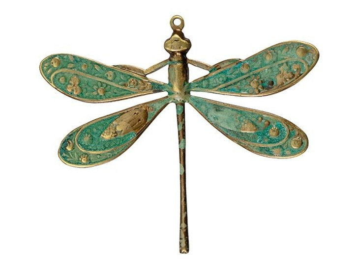 Brass Floral Dragonfly Pendant with Patina