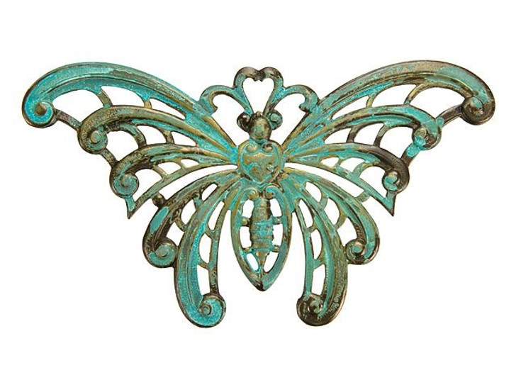 Brass Large Butterfly with Patina Finish Embellishment