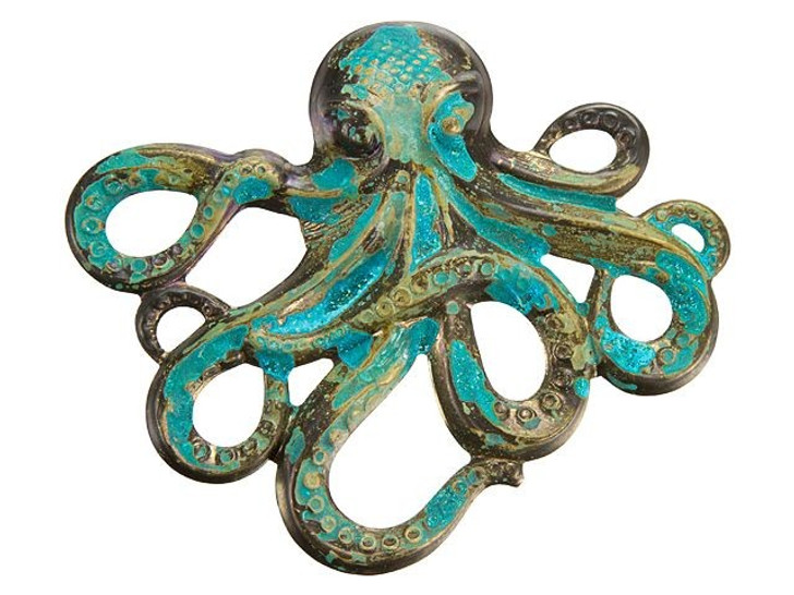 Brass Large Octopus with Patina Finish Embellishment