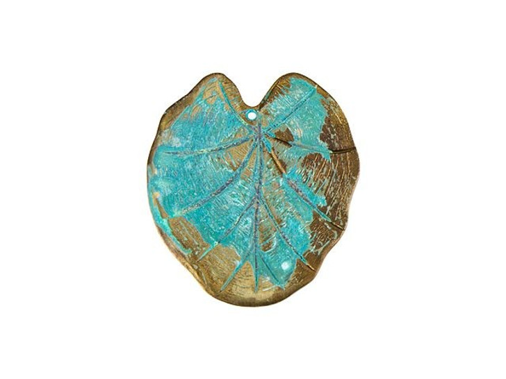 Brass Lily Pad Embellishment with Patina