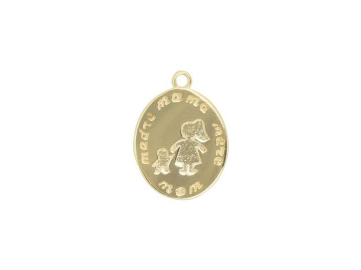Gold-Finish Mom Oval Charm