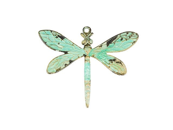Brass Medium Dragonfly Pendant with Patina