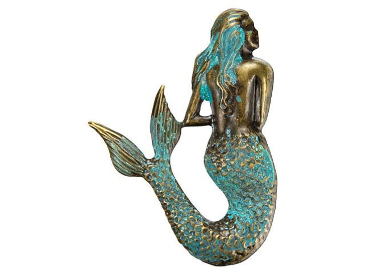 Brass Mermaid with Patina Finish Embellishment