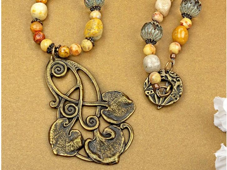 Brass Nouveau Leaf Embellishment