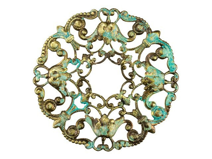 Brass Round Filigree Wreath with Patina Embellishment