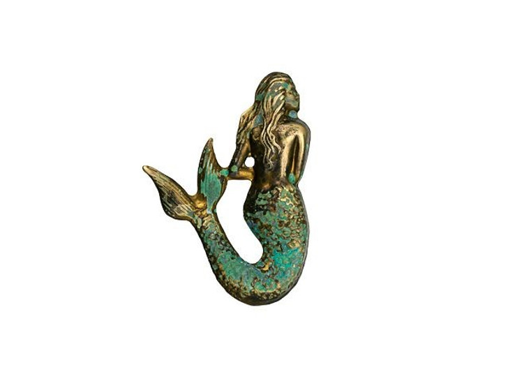 Brass Small Mermaid Embellishment with Patina