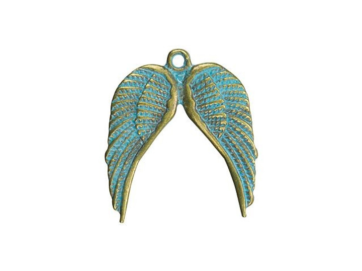 Brass-Plated Angel Wings Charm with Patina Finish