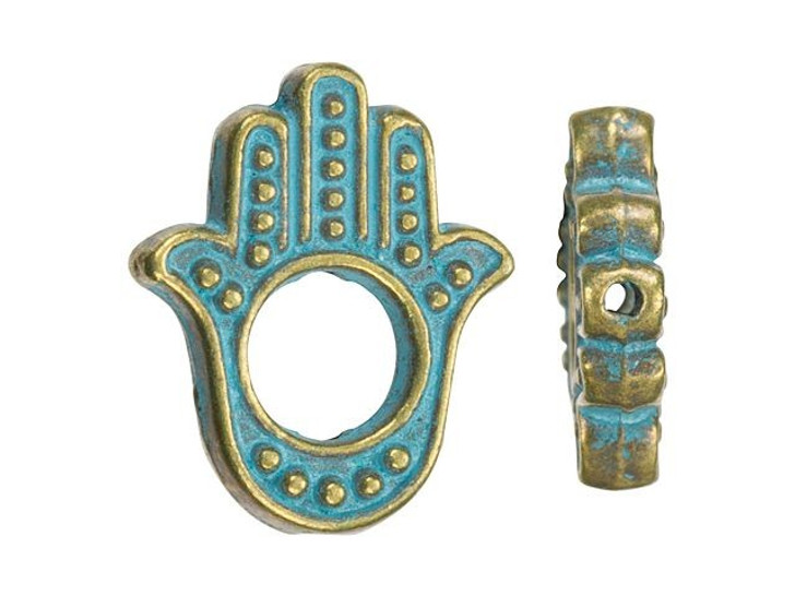 Brass-Plated Hamsa Bead with Patina Finish