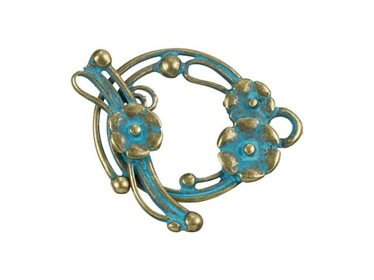 Brass-Plated Whimsical Flower Toggle Clasp with Patina Finish