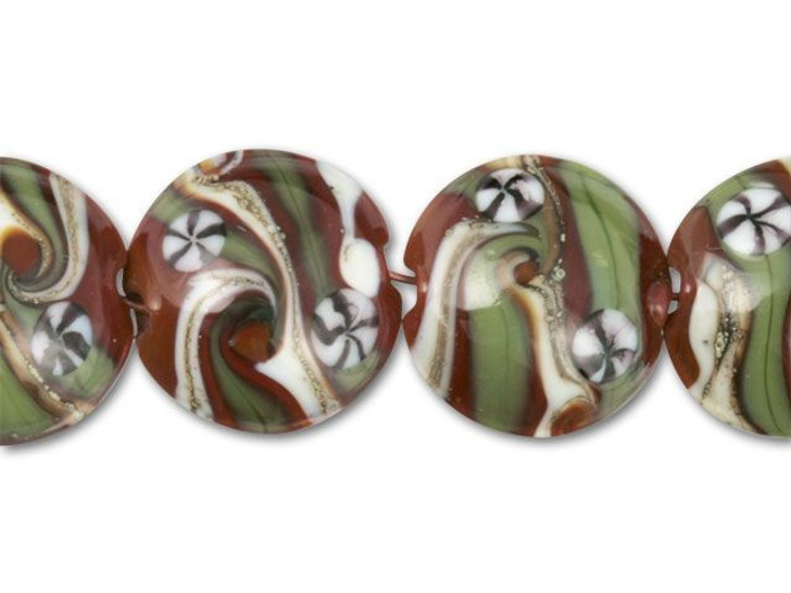 Brown with Olive Green, Ivory Swirl Lentil Beads (7pcs)