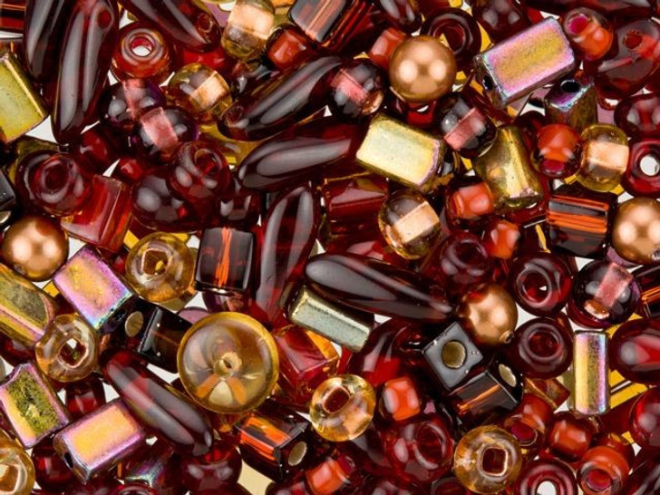 Burgundy and Gold Assorted Small Bead Mix 10 grams