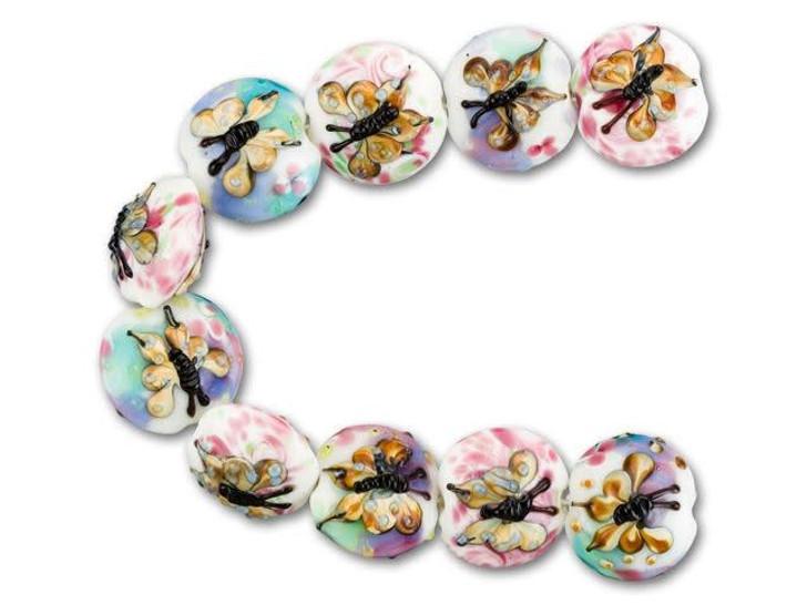 Butterfly Lentil Lampwork Bead Strand