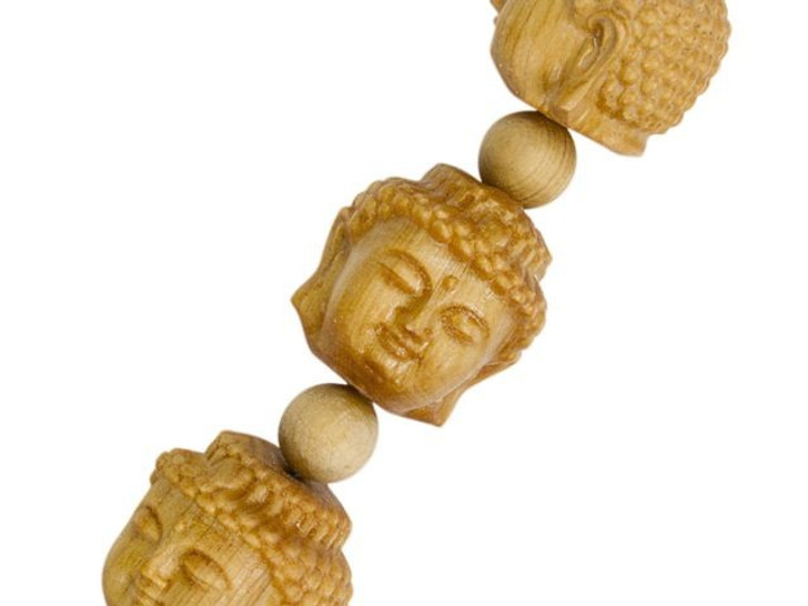 Carved Buddha Head Natural Wood Bead Strand