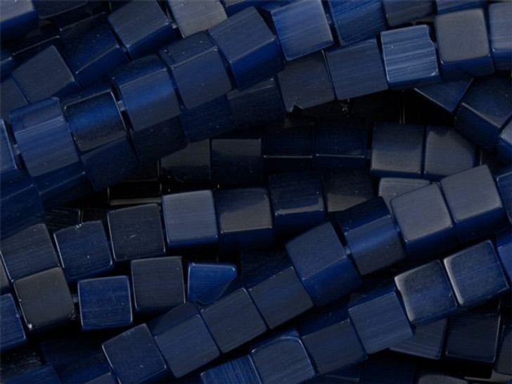 Cat's Eye Cube Beads 4mm - Dark Blue Strand