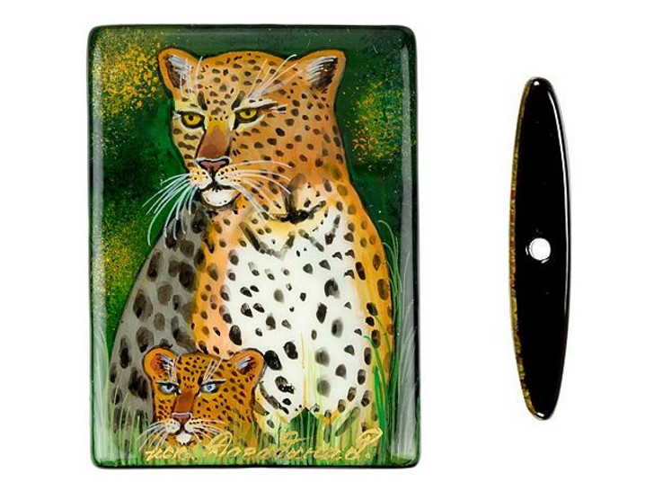 Cheetah and Cub Hand-Painted Black Agate Rectangle Bead