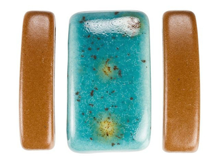 Clay River Designs Blue and Brick Red Porcelain Leather Slider Bead Bundle