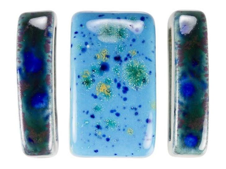 Clay River Designs Blue Porcelain Leather Slider Bead Bundle