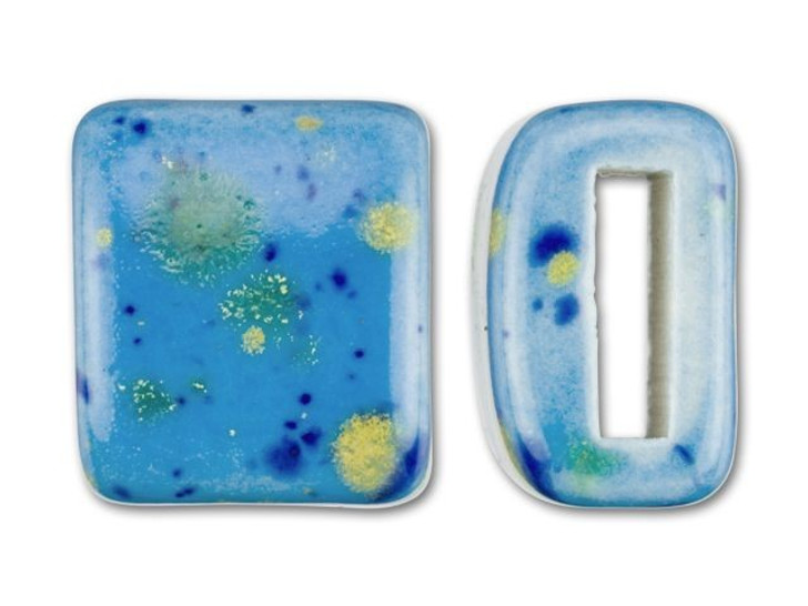 Clay River Designs Porcelain Medium Flat Leather Slider Bead - Blue Caprice