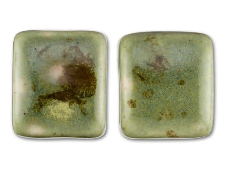 Clay River Designs Porcelain Medium Flat Leather Slider Bead - Green Agate