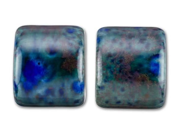 Clay River Designs Porcelain Medium Slider Bead - Marbelous Blue