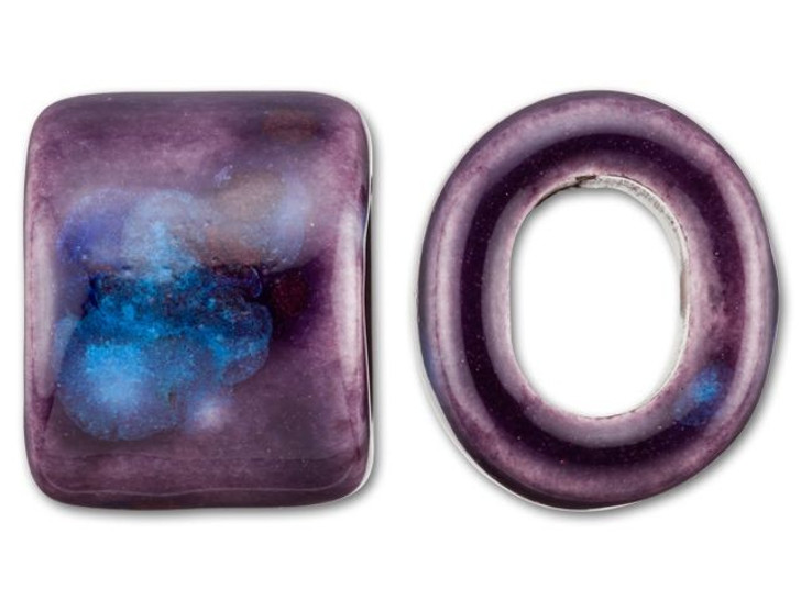 Clay River Designs Porcelain Medium Slider Bead - Royal Purple