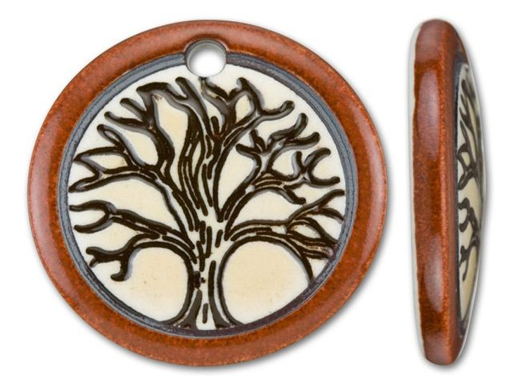 Clay River Designs Porcelain Old Brick Tree of Life Disc Pendant