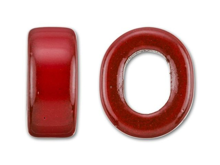 Clay River Designs Porcelain Small Slider Bead - Neon Red